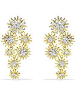 Starburst Cluster Earrings With Diamonds In 18k Gold