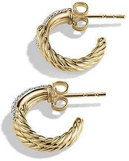 Labyrinth Huggie Earrings With Diamonds In 18k Gold