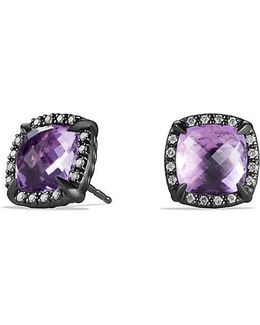 Châtelaine Stud Earrings With Amethyst And Gray Diamonds