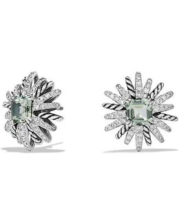 Starburst Earrings With Prasiolite And Diamonds, 19mm