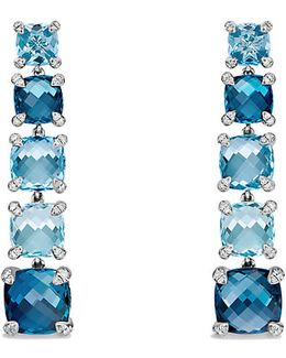Châtelaine Linear Earrings With Hampton Blue Topaz, Blue Topaz And Diamonds
