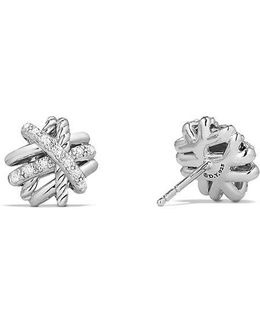 Crossover Earrings With Diamonds, 11mm