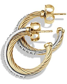 Crossover Small Hoop Earrings With Diamonds In 18k Gold