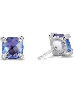 Chatelaine Stud Earring With Tanzanite And Diamonds In 18k White Gold, 8mm