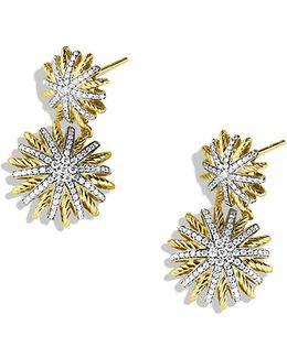Starburst Double-drop Earrings With Diamonds In 18k Gold