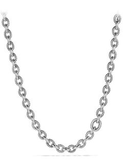 Large Oval Link Necklace With Diamonds