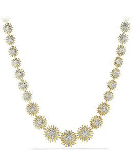 Starburst Linked Necklace With Diamonds In 18k Gold