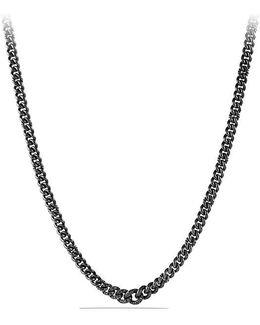 Petite Pavé Curb Chain Necklace With Black Diamonds
