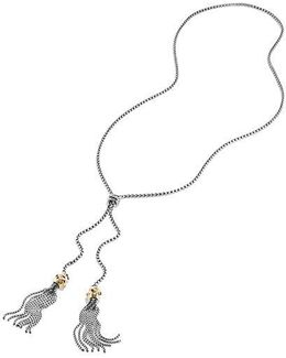 Renaissance Tassel Necklace With Pink Tourmaline, Rhodalite Garnet And 14k Gold