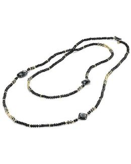 Bijoux Bead Necklace With Hematine, Black Spinel, Pyrite And 18k Gold
