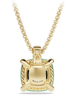 Châtelaine® Pendant Necklace With Chrysoprase And Diamonds In 18k Gold, 14mm