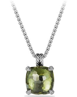 Châtelaine® Pendant Necklace With Green Orchid And Diamonds, 14mm