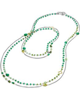 Bijoux Bead Necklace With Green Onyx, Green/chrome Diopside, Tsavorite And 18k Gold