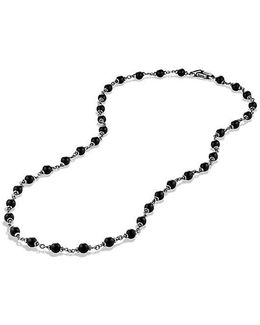 Spiritual Rosary Bead Necklace In Black Onyx