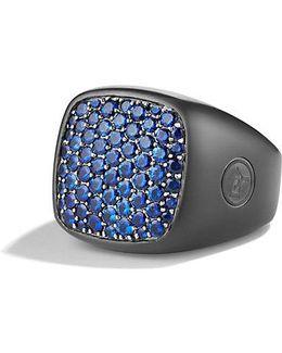 Pavé Signet Ring With Blue Sapphires And Black Titanium