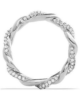 Dy Wisteria Twist Ring With Diamonds In 18k White Gold, 4mm