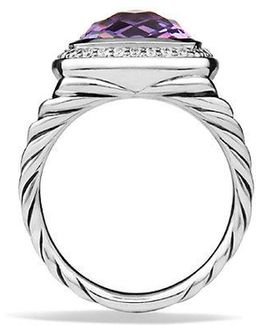 Albion® Ring With Amethyst And Diamonds, 11mm