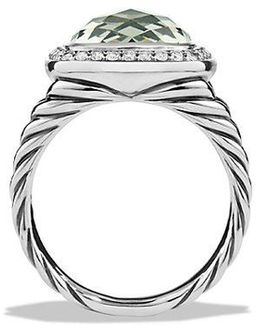 Albion Ring With Prasiolite And Diamonds, 11mm