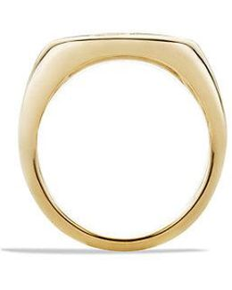 Dy Initial Pinky Ring With Diamonds In 18k Gold