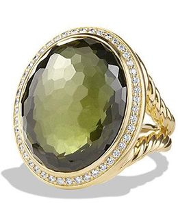 Dy Signature Oval Ring With Green Orchid And Diamonds In 18k Gold