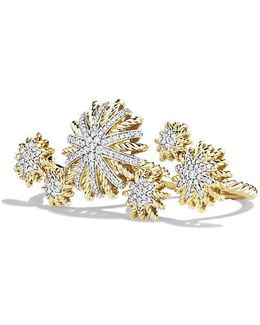 Starburst Double Ring With Diamonds In 18k Gold