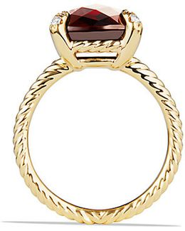 Chatelaine Ring With Garnet And Diamonds In 18k Gold