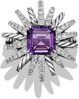 Starburst Ring With Diamonds And Amethyst In Silver, 23mm