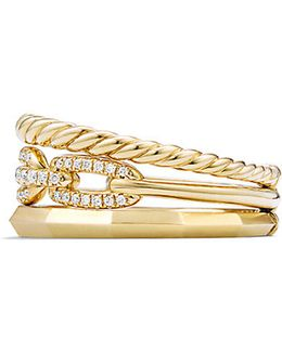 Stax Narrow Ring With Diamonds In 18k Gold, 9.5mm
