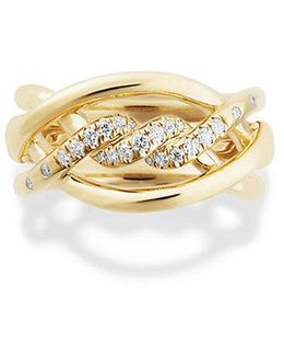 Continuance Ring With Diamonds In 18k Gold, 11.5mm