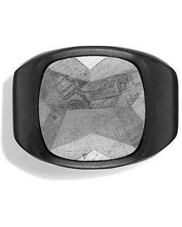 Meteorite Signet Ring In Black Titanium