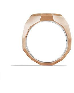Faceted Metal Signet Ring With 18k Rose Gold