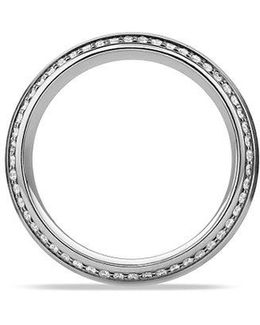 Knife Edge Band Ring With Diamonds In Platinum, 8mm