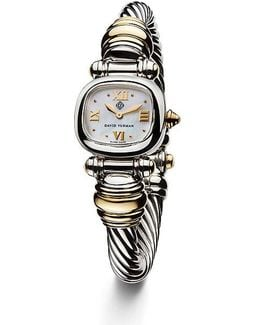 Cable 21mm Sterling Silver Quartz Watch With 18k Gold