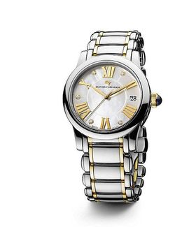 Classic 34mm Stainless Steel And 18k Gold Quartz Watch With Diamond Markers