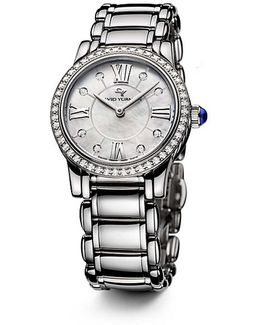 Classic 30mm Quartz Watch With Diamonds