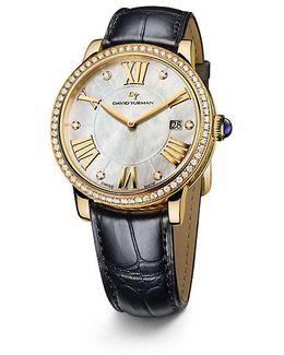 Classic 38mm 18k Gold Quartz Watch With Diamond Bezel