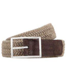 Beige Pleated Felt Belt, Brown Detail