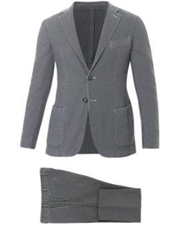 Grey Textured Cotton Suit