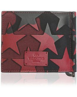 Black And Red Camoustars Leather Wallet