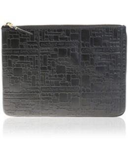 Textured Black Leather Clutch