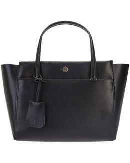 Black Leather Small York Buckle Tote