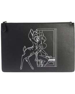 Printed Leather Bambi Medium Clutch