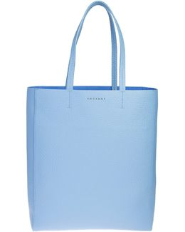 Light Blue Textured Leather Shopping Bag