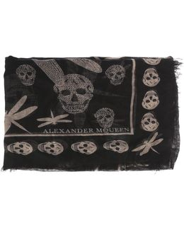Silk And Modal Scarf With Skulls And Dragonflies
