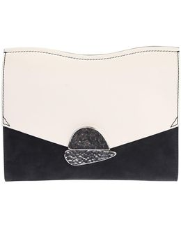 Black, Red, White Leather Medium Clutch