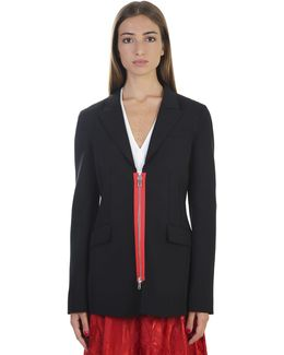 Wool Blazer With Contrasting Zip Detail