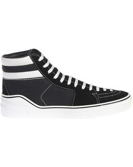 Suede And Cotton Canvas High Top Sneakers