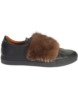 Leather Sneakers With Fur Band