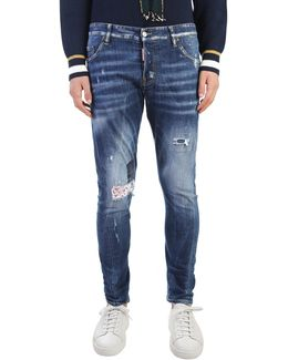 Cotton Jeans With Patch