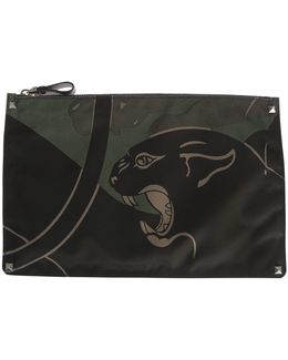 Nylon Panther Printed Pouch